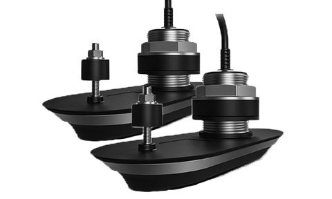 Pack of RV-412 RealVision 3D Stainless Steel Thru Hull Txds, Port & Starboard 12°, Direct connect to AXIOM (2 x 2m, Y-cable and 8m extension cable)